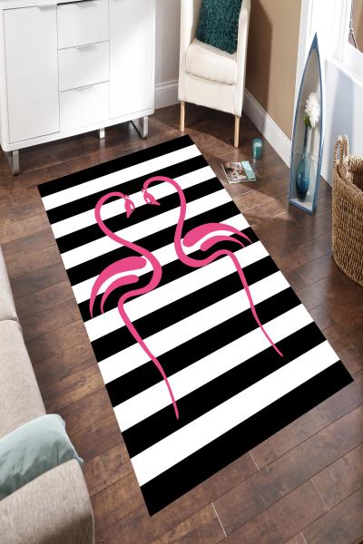 resmiro - Aşık Flamingo Desenli Dijital Baskılı Halı