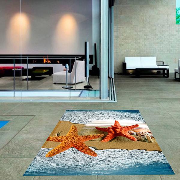 resmiro - Deniz Yıldızı Desenli Dijital Baskılı Halı