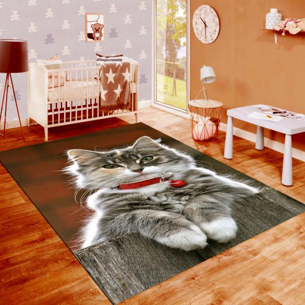 resmiro - Kedi Desenli Dijital Baskılı Halı