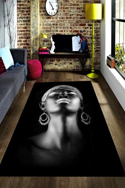 resmiro - Küpeli Afrika Desenli Dijital Baskılı Halı