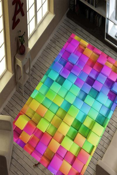 resmiro - Renkli Kareler Dijital Baskılı Halı