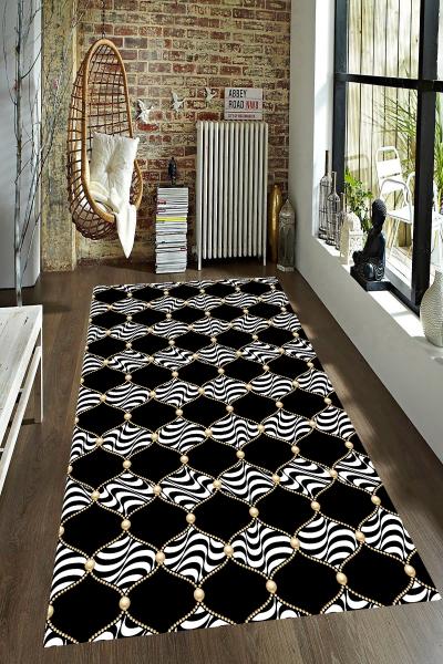 resmiro - Siyah Zemin Zebra Motifli Dijital Baskılı Halı